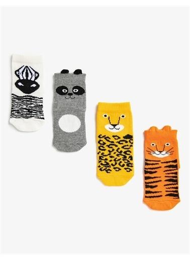 Koton Erkek Bebek Hayvan Desenli Çorap Seti Pamuklu Oranj